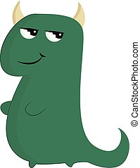 A green monster, vector or color illustration.