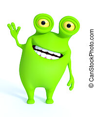 A green monster waving and looking very happy.