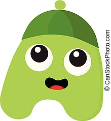 A green monster with green hat vector or color illustration