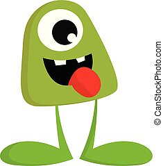 A green monster without hands vector or color illustration