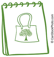 A green notebook with a bag at the cover page
