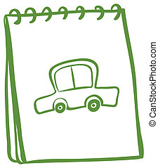 A green notebook with a car at the cover page