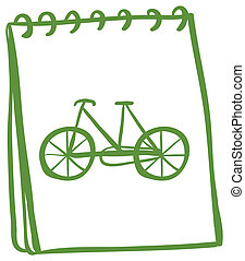 A green notebook with a drawing of a bike