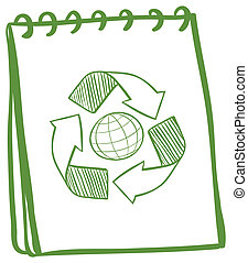 A green notebook with a drawing of the recycle symbol