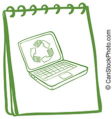 A green notebook with a laptop at the cover page