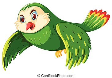 A green owl on white background