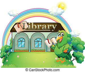 A green parrot reading outside the library