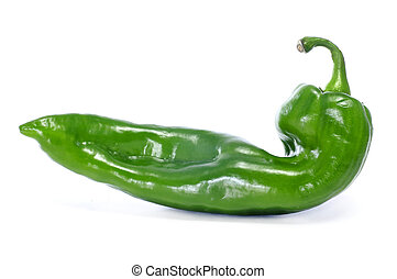 a green pepper with a rare shape on a white background