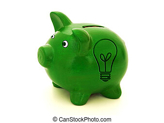 A green piggy bank with a light bulb symbol on a white background, Ideas for saving money