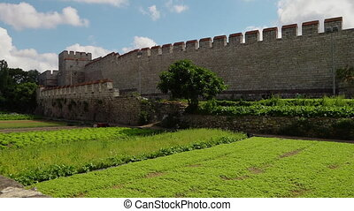 A green plantation of crops next to the Theodosian Walls of...