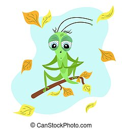 A green praying mantis sits on a branch of an autumn tree. Cartoon cute insect character. Children's flat vector seasonal illustration. Autumn leaf fall. Grasshopper, beetle and yellow, orange leaves. sits on a branch of an autumn tree. Cartoon cute insect character. Children's flat vector seasonal ...