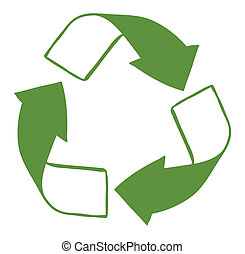 A green recycle sign