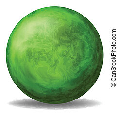 A green round ball - Illustration of a green round ball on a...