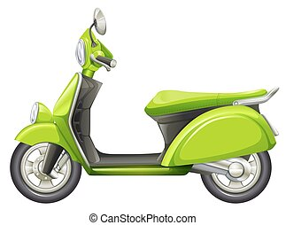 A green scooter - Illustration of a green scooter on a white...