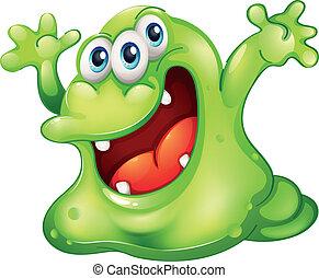 A green slime monster - Illustration of a green slime...