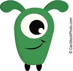 A green smiling monster vector or color illustration