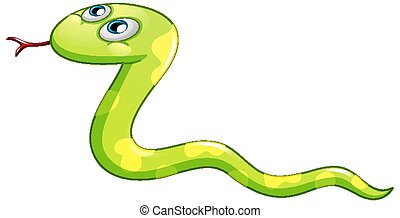 A green snake cartoon character on white background