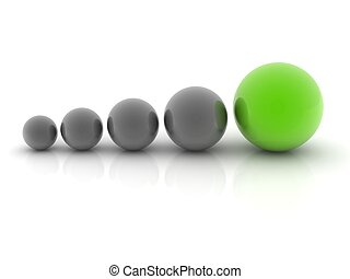 a green sphere placed observably with four gray spheres.