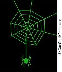 a green spider on black background