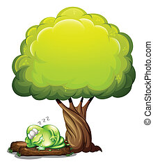 A green three-eyed monster sleeping soundly under the tree -...