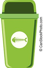 A green trash can on white background