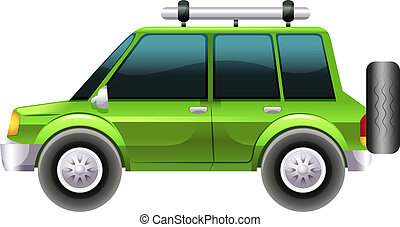 A green van - Illustration of a green van on a white...