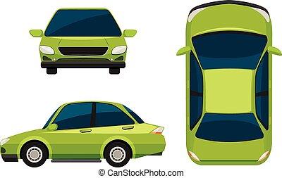 A green vehicle