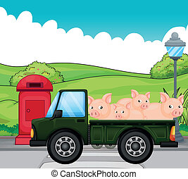 A green vehicle with pigs at the back - Illustration of a...
