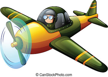 A green vintage plane - Illustration of a green vintage...