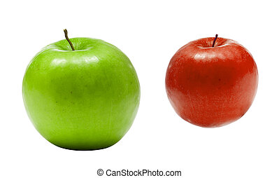 green with red apples isolated