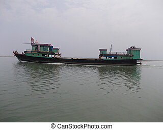 A Green Wooden Ferry - A green wooden ferry crossing the...