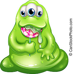 A greenslime baby monster eating a lollipop