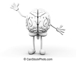 Cartoon Brain - A greeting Cartoon Brain. 3D rendered...