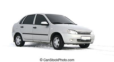 A grey car - A little grey car over white