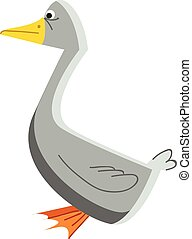 A grey color waterfowl bird with a yellow sharp beak and...