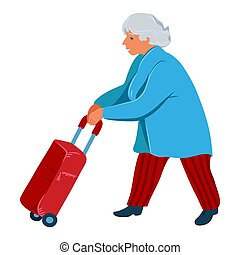 A grey-haired old woman carries a red travel stroller suitcase. Vector illustration in flat cartoon style.