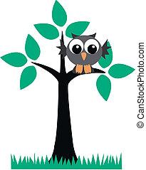 a grey owl sitting in a tree