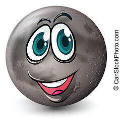 A grey planet with a face - Illustration of a grey planet...