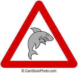 a grey shark with warning sign