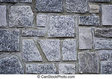 A grey stone wall.