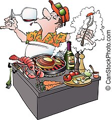 A grillmaster tasting vine - Vector cartoon illustration of...