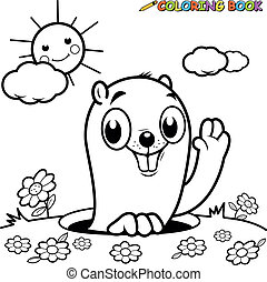 A groundhog peeking out of it's hole. Vector black and white...