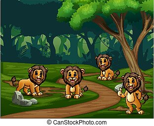 A group lions enjoying in the forest