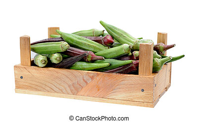 abelmoschus in wooden crate