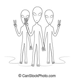 A group of aliens shows a peace sign. Isolated stock vector illustration.