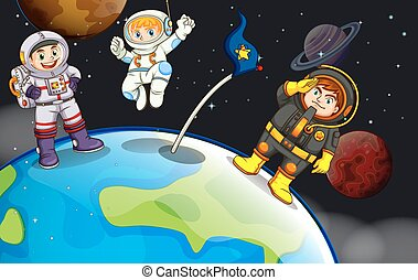 A group of astronauts in the outerspace
