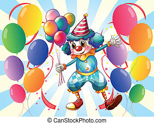 A group of balloons with a circus clown