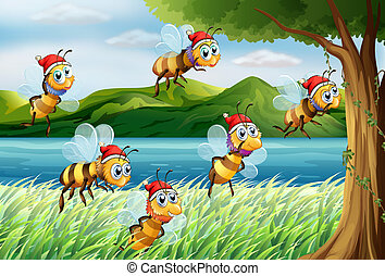 A group of bees going to the tree at the riverbank