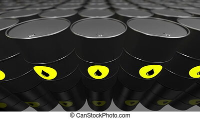A Group of black oil barrels. Loopable. - 3D render of a...