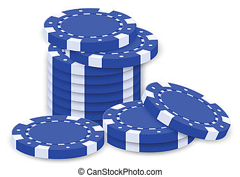 A group of blue poker chips